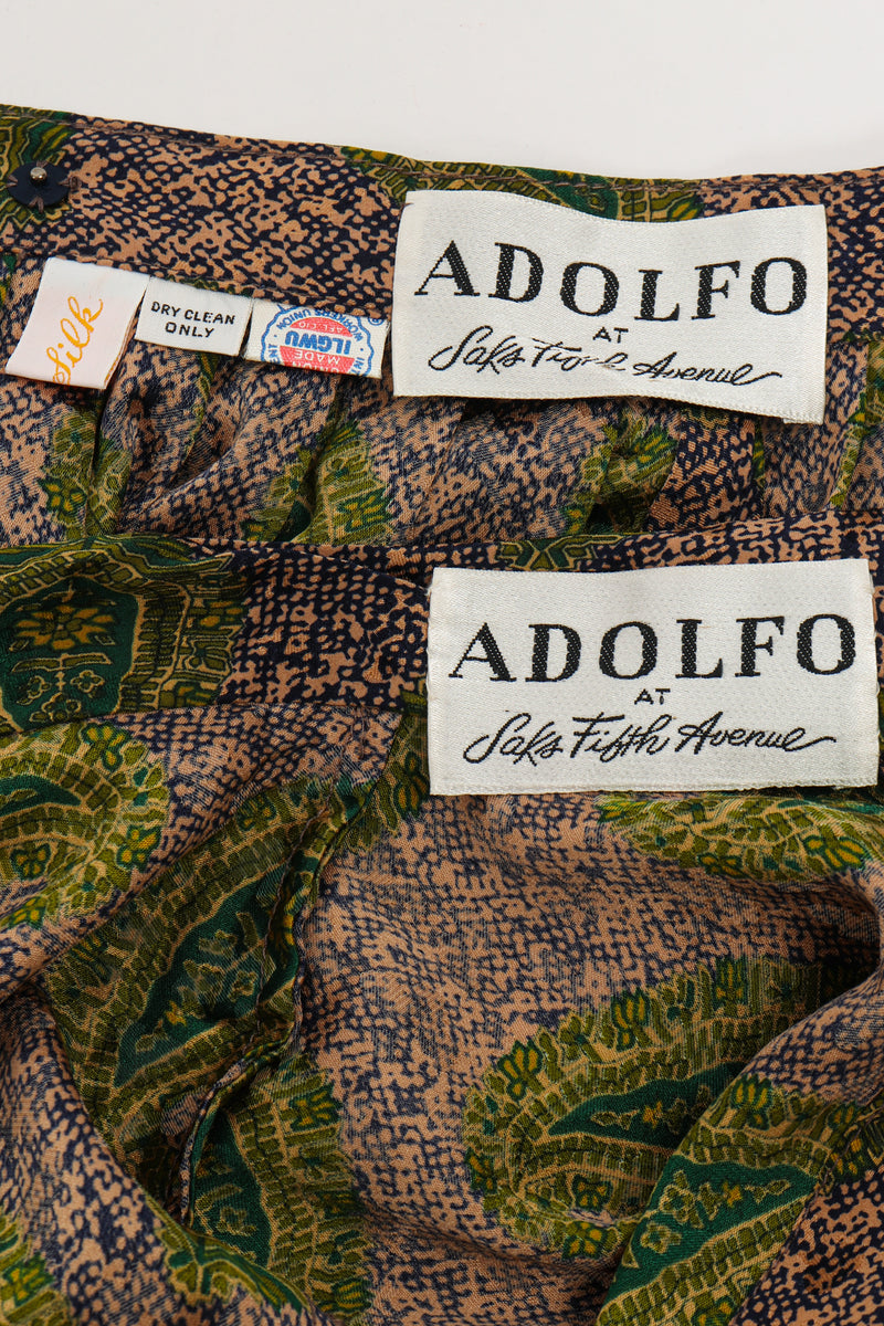 Vintage Adolfo Tossed Paisley Palazzo Pant Set labels at Recess Los Angeles