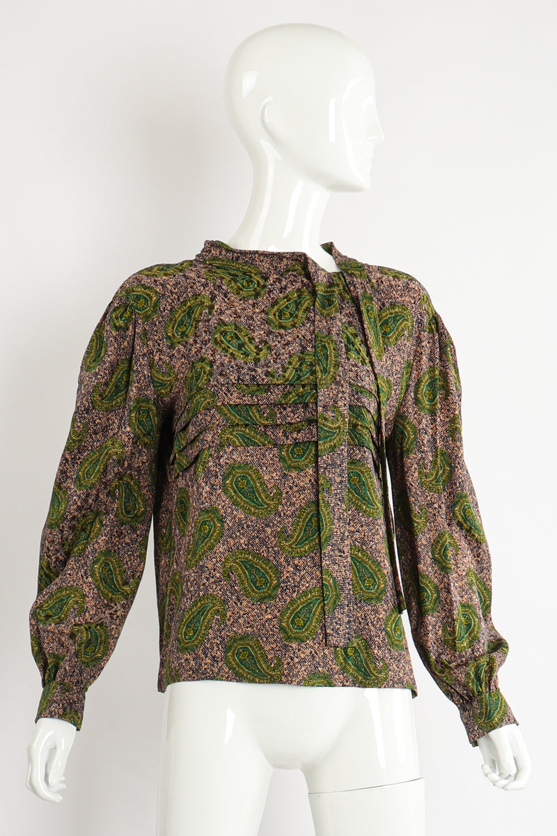 Vintage Adolfo Tossed Paisley Blouse Set on Mannequin Front at Recess Los Angeles