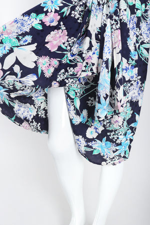 Recess Los Angeles Designer Consignment Vintage Adolfo Silk Floral Wrap Dress Resale Recycled