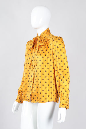 Recess Los Angeles Vintage Adolfo Gold Crown Print Silk Bow Blouse