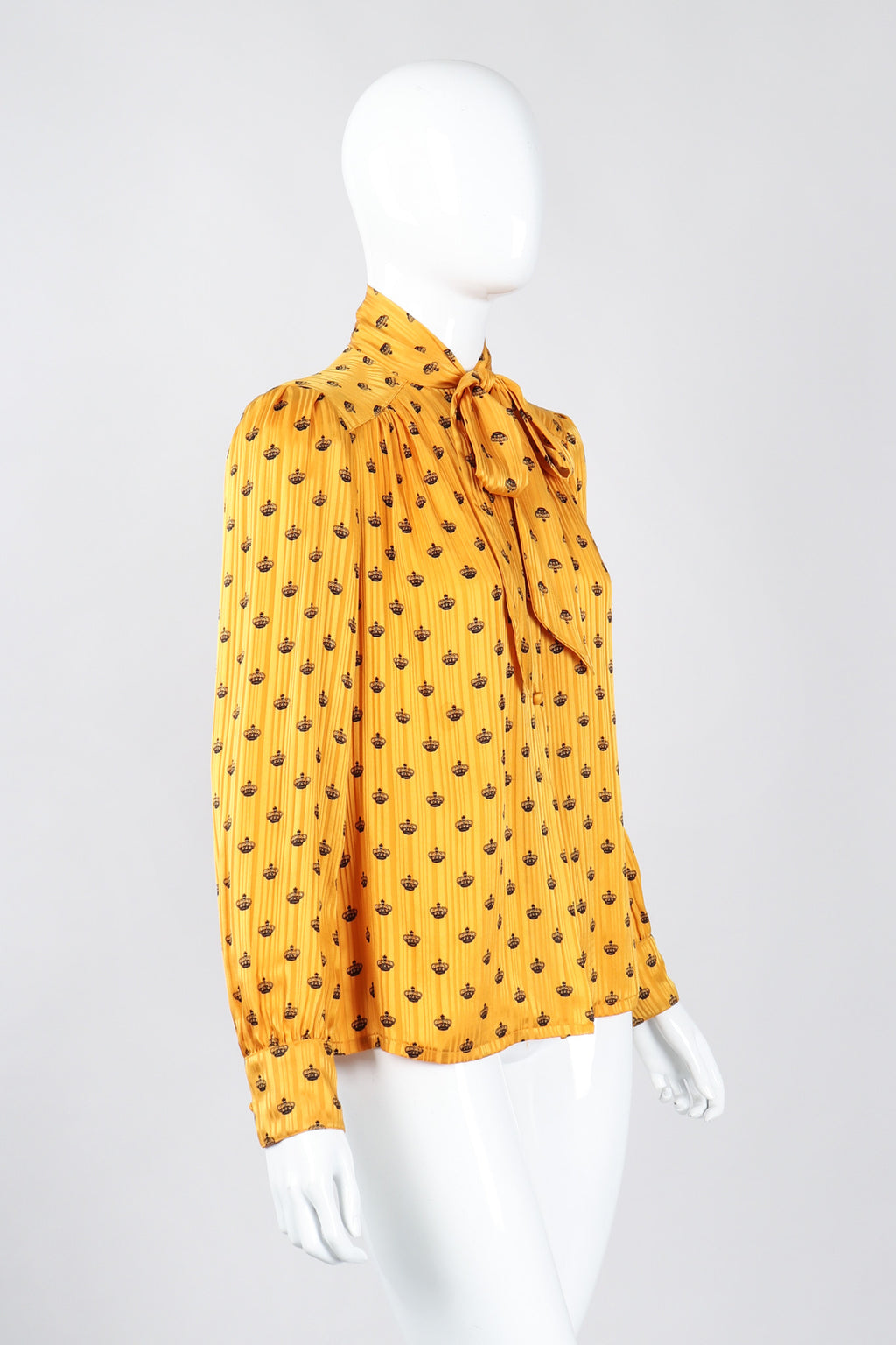 fa53180c Recess Los Angeles Vintage Adolfo Gold Crown Print Silk Bow Blouse