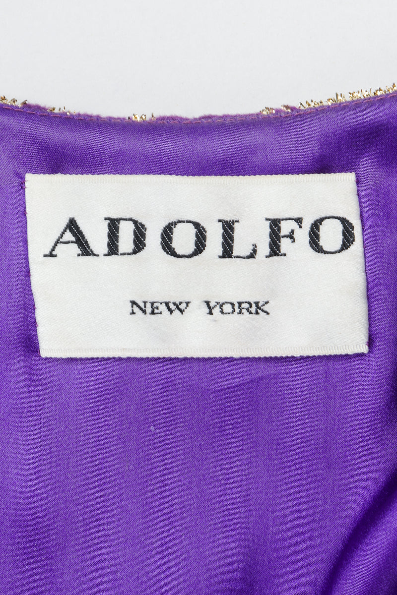Vintage Adolfo Label on purple lining fabric