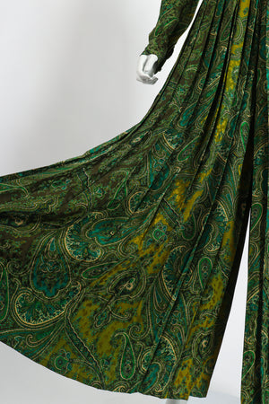 Vintage Adolfo Green Paisley Palazzo Pant Set on Mannequin leg at Recess Los Angeles
