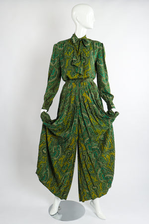 Vintage Adolfo Green Paisley Palazzo Pant Set on Mannequin curtsey at Recess Los Angeles