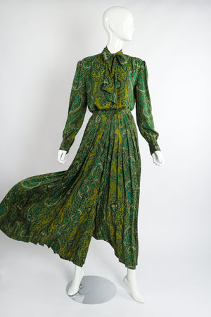 Vintage Adolfo Green Paisley Palazzo Pant Set on Mannequin billow at Recess Los Angeles