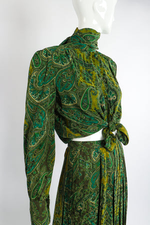 Vintage Adolfo Green Paisley Palazzo Pant Set on Mannequin crop tie at Recess Los Angeles