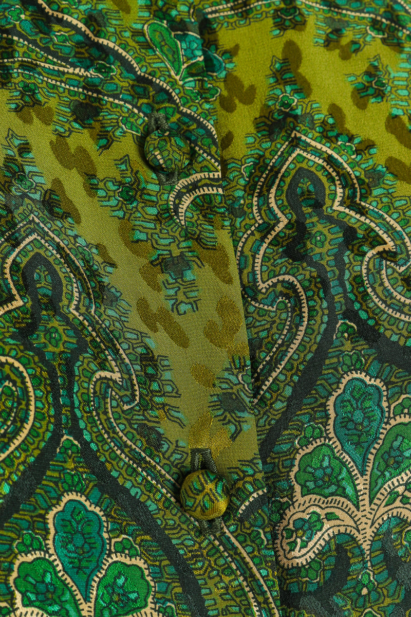 Vintage Adolfo Green Paisley Palazzo Pant Set on Mannequin button detail at Recess Los Angeles