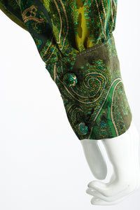 Vintage Adolfo Green Paisley Palazzo Pant Set on Mannequin sleeve cuff at Recess Los Angeles