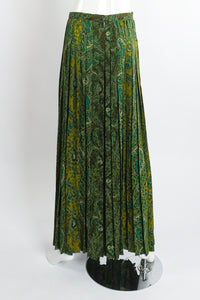 Vintage Adolfo Green Paisley Palazzo Pant Set on Mannequin back at Recess Los Angeles
