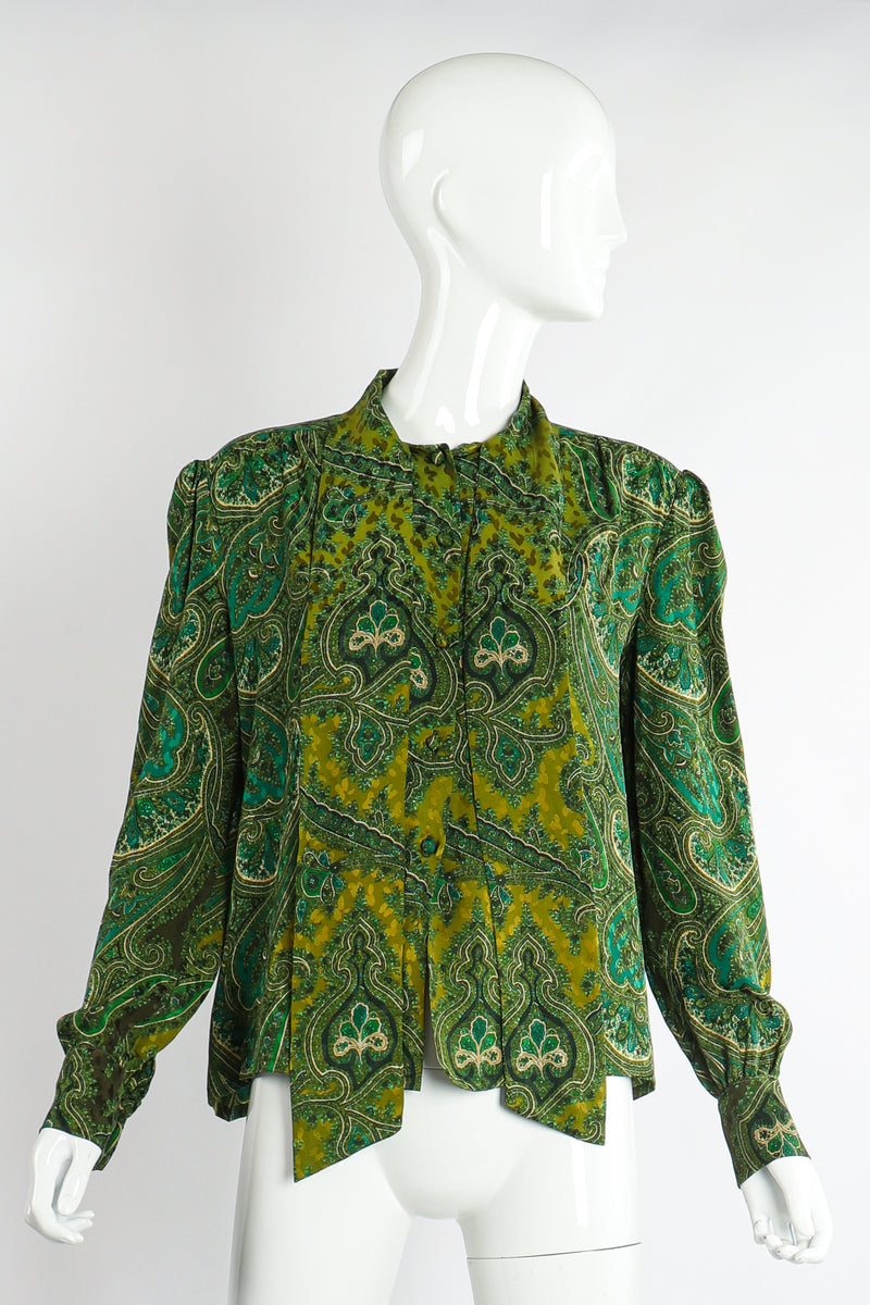 Vintage Adolfo Green Paisley shirt Set on Mannequin front at Recess Los Angeles