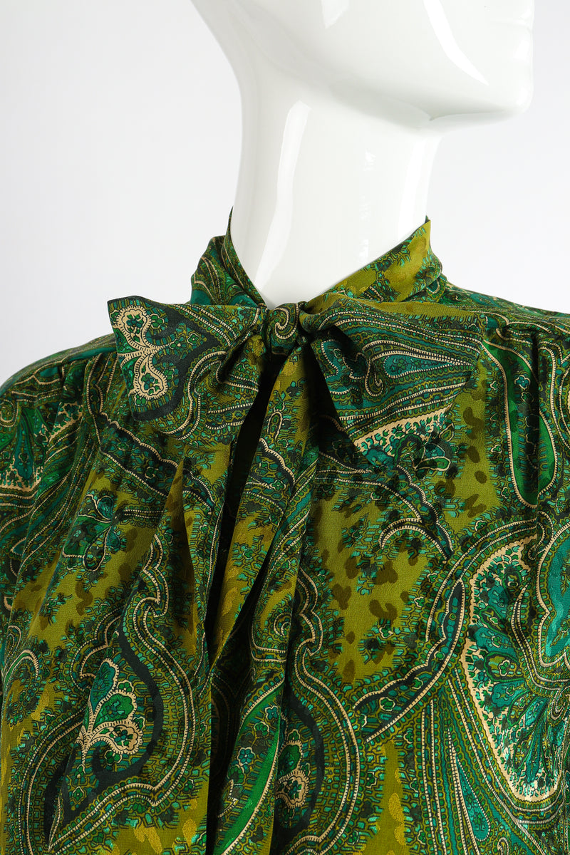 Vintage Adolfo Green Paisley Palazzo Pant Set on Mannequin neck detail at Recess Los Angeles