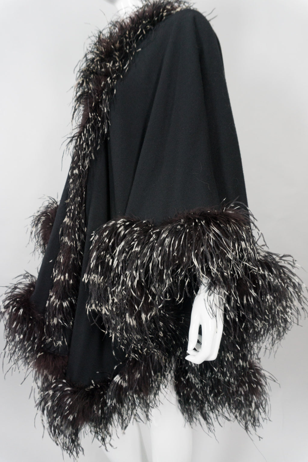 Adrienne Landau Ostrich Feather Shawl Cape