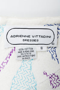 Vintage Adrienne Vittadini label on colorfully stitched lining fabric