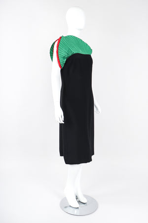 Recess Los Angeles Designer Consignment Vintage Akira Asymmetrical Pleated Fan Shoulder Dress