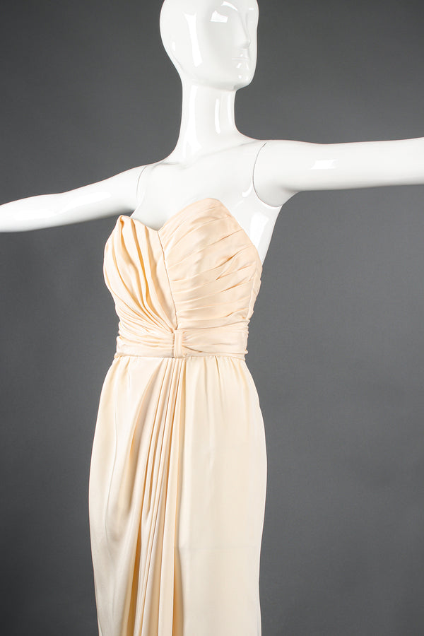 Vintage Akira Strapless Draped Silk Sheath Bridal Wedding Gown on Mannequin crop at Recess LA