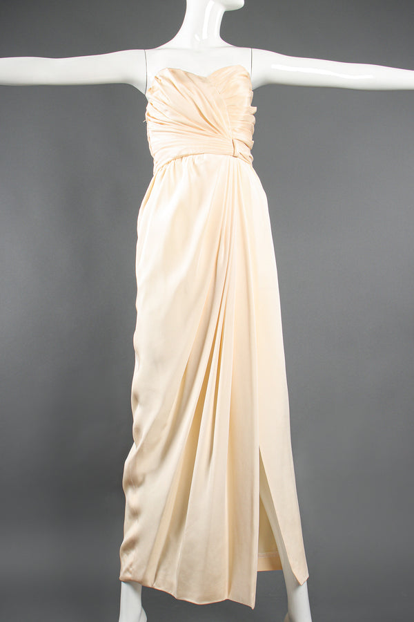 Vintage Akira Strapless Draped Silk Sheath Bridal Wedding Gown on Mannequin front at Recess LA