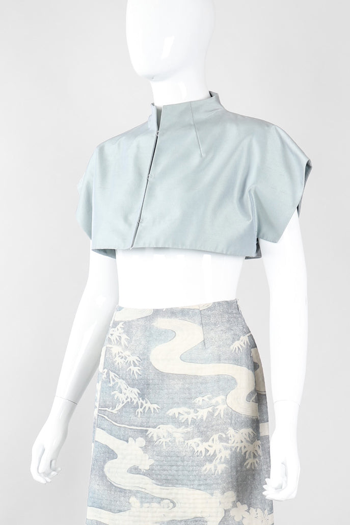 Recess Los Angeles Vintage Akris Raw Silk Mandarin Collar Crop Top