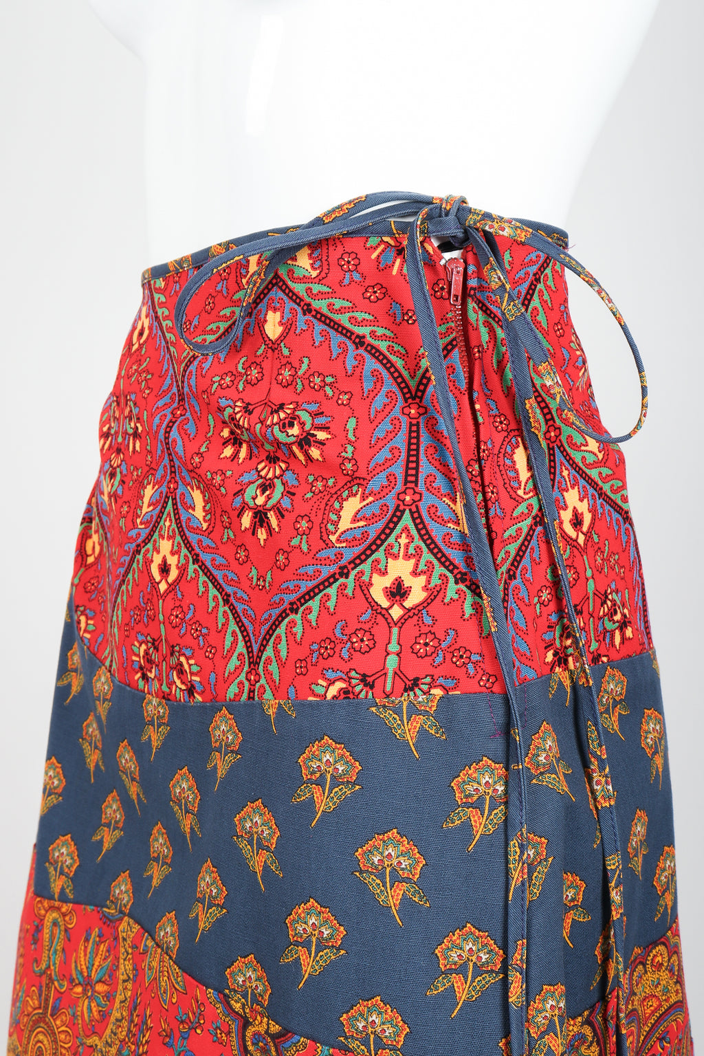 Vintage Anne Klein Flower & Paisley Tie Wrap Skirt Waist at Recess LA
