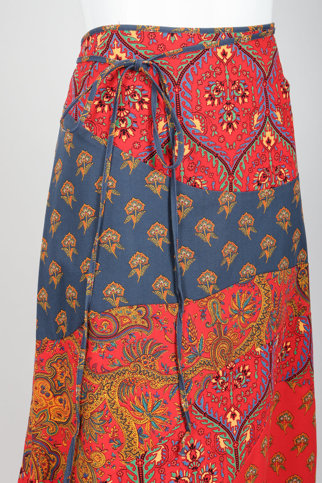 Vintage Anne Klein Flower & Paisley Tie Wrap Skirt Angle at Recess LA