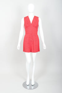 Vintage Al Cooper Polka Dot Romper Hostess Skirt Set Front Jumper at Recess