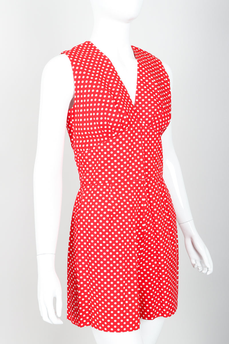 Vintage Al Cooper Polka Dot Romper Hostess Skirt Set Romper Angle at Recess