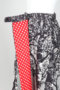 Vintage Al Cooper Polka Dot Romper Hostess Skirt Set Skirt Angle at Recess