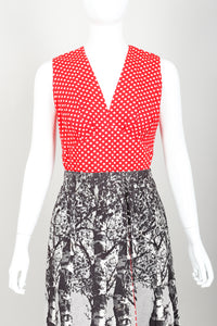 Vintage Al Cooper Polka Dot Romper Hostess Skirt Set Front Crop at Recess