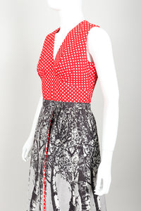 Vintage Al Cooper Polka Dot Romper Hostess Skirt Set Angle at Recess