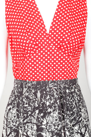 Vintage Al Cooper Polka Dot Romper Hostess Skirt Set Front Bodice Crop at Recess