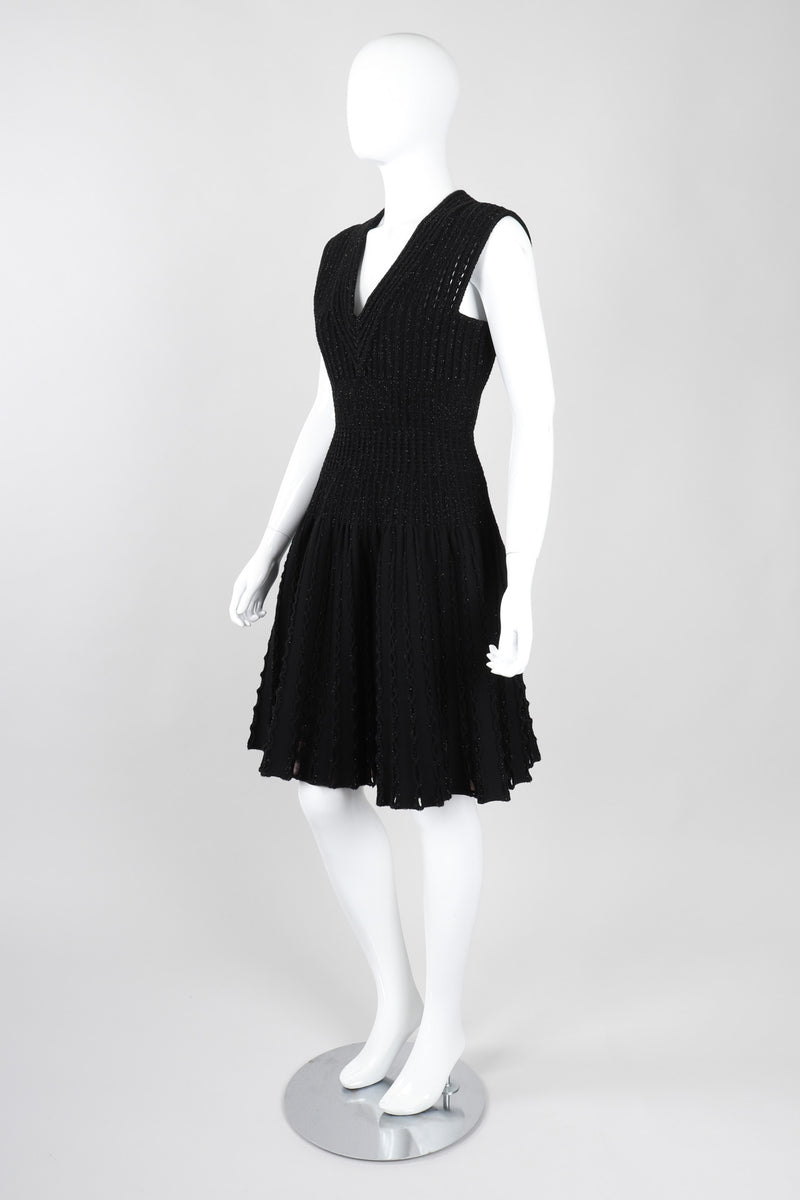 Recess Los Angeles Vintage Alaia Knit Eyelet Tinsel Fit And Flare Cocktail Dress