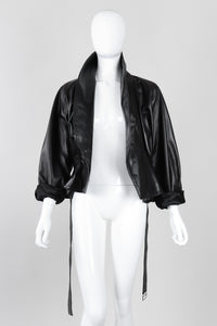 Recess Los Angeles Vintage 1980s Alaia Cropped Leather Wrap Jacket