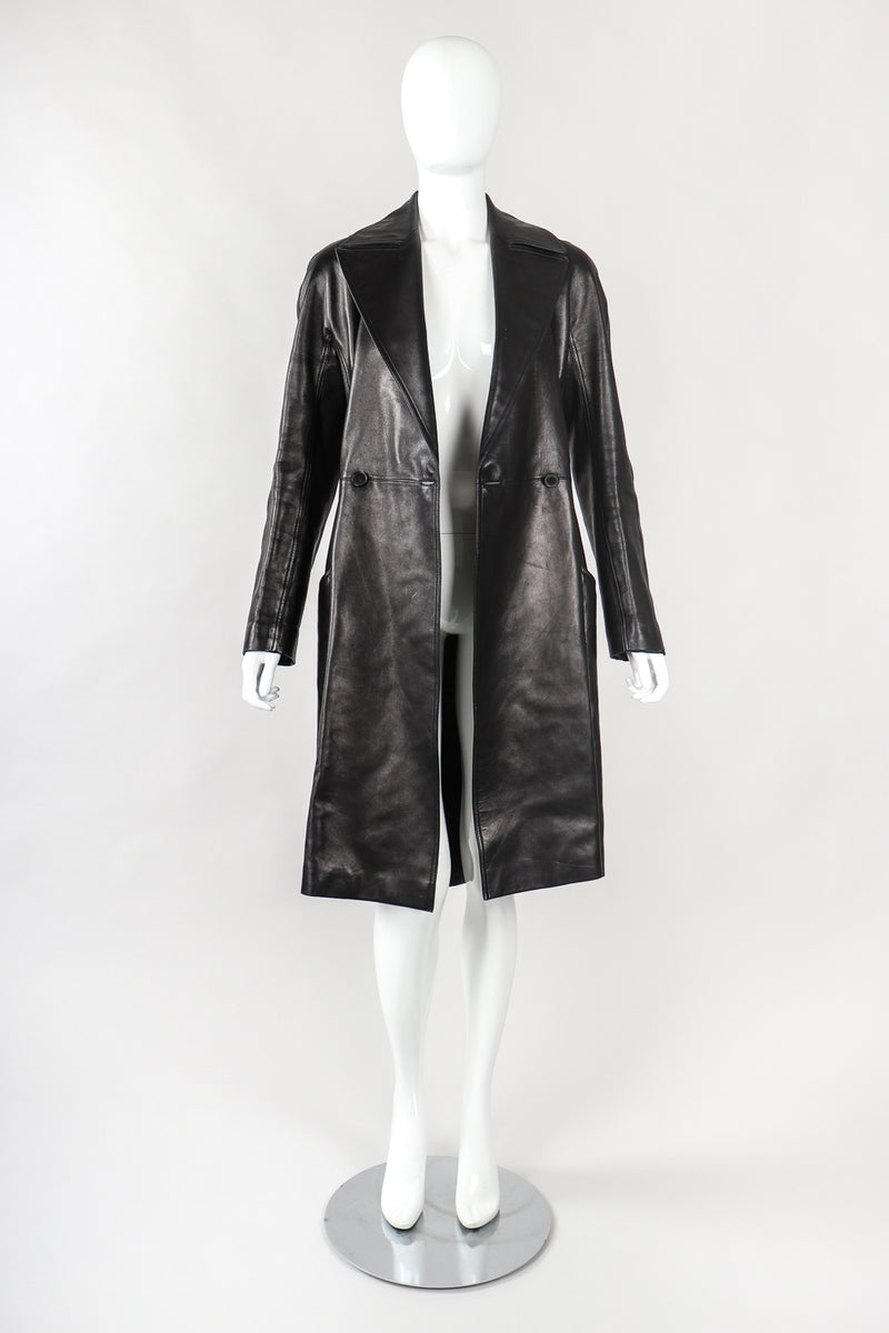 Recess Designer Consignment Vintage Alaia Wide Lapel Leather Trench Coat Los Angeles Resale