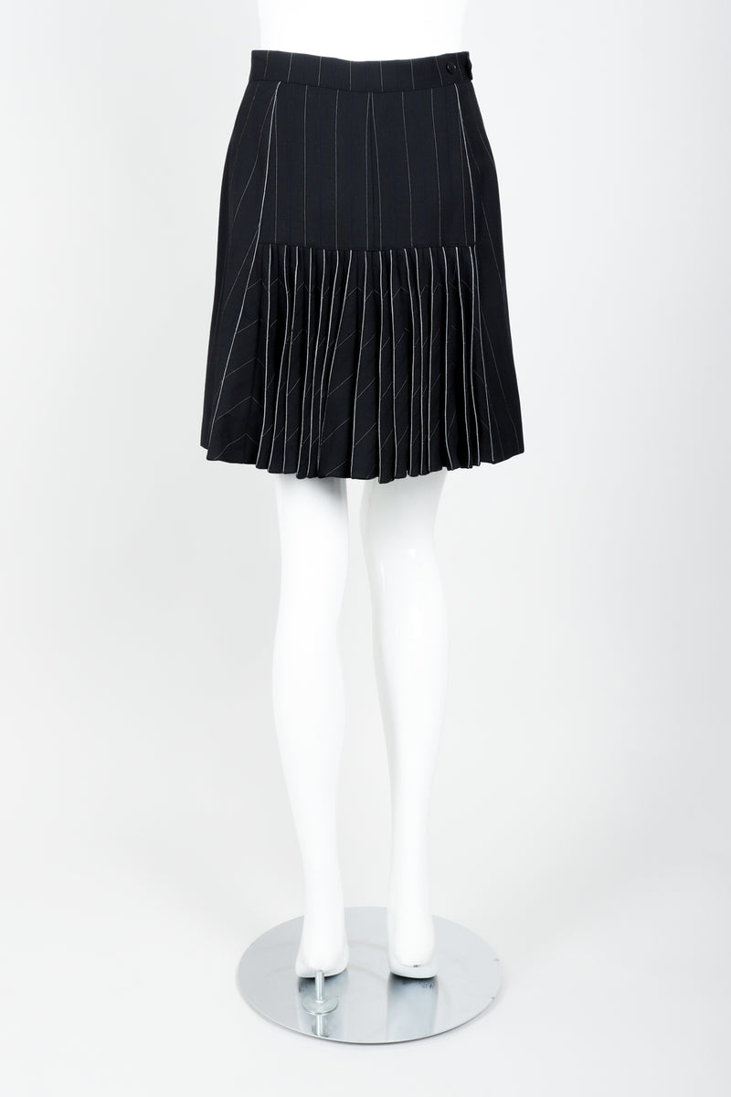 Vintage Alaia Pinstripe Pleated Skirt on Mannequin back at Recess