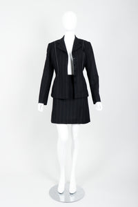 Vintage Alaia Pinstripe Contour Jacket & Pleated Skirt on Mannequin open at Recess