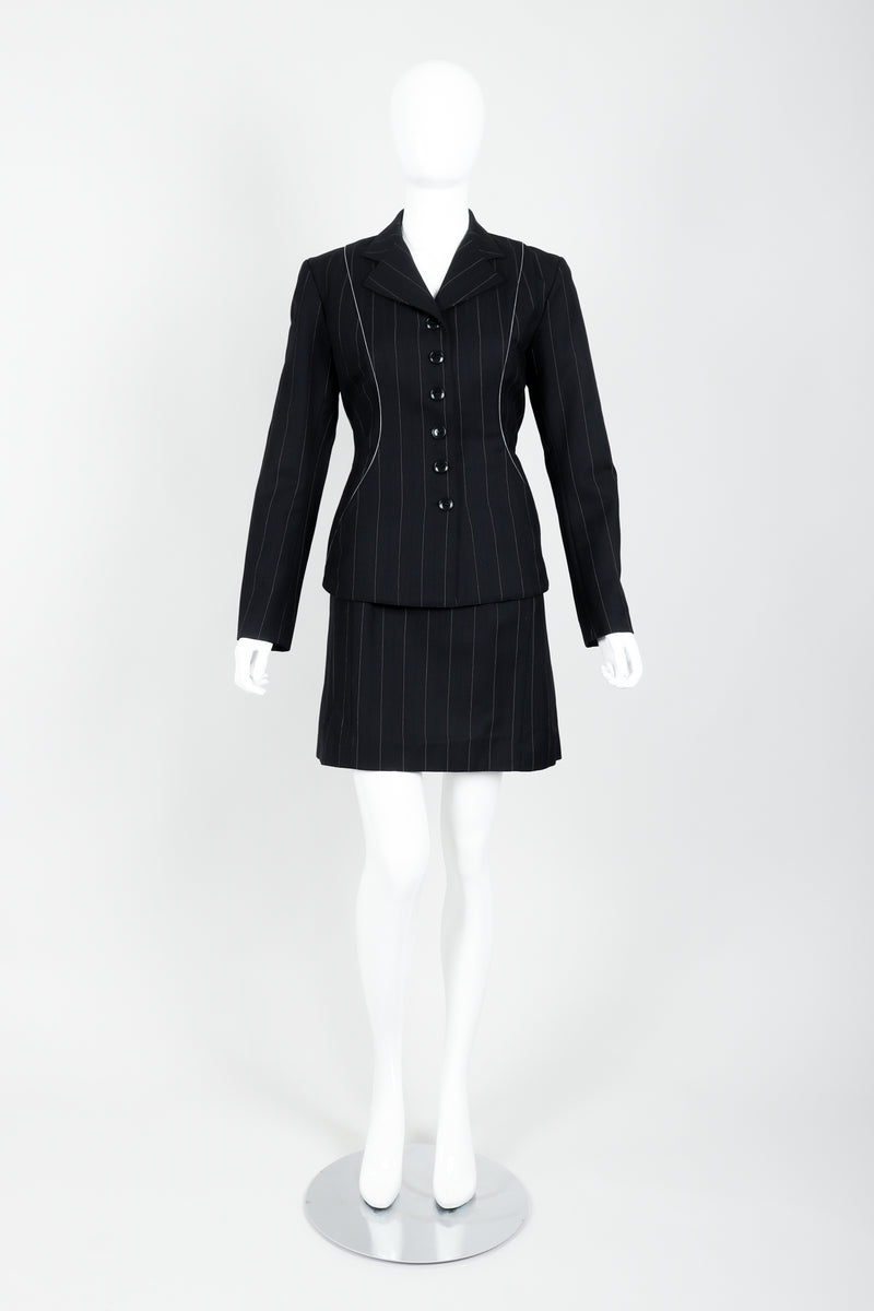 Vintage Alaia Pinstripe Contour Jacket & Pleated Skirt Set on Mannequin front