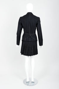 Vintage Alaia Pinstripe Contour Jacket & Pleated Skirt set on Mannequin back
