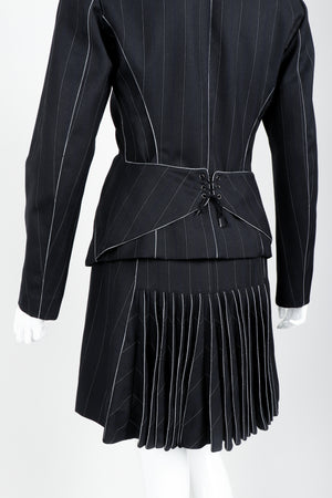 Vintage Alaia Pinstripe Contour Jacket & Pleated Skirt Set on Mannequin back detail