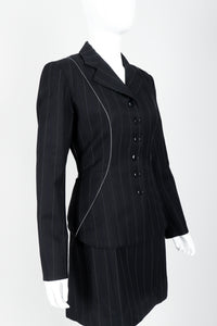 Vintage Alaia Pinstripe Contour Jacket & Pleated Skirt on Mannequin front crop at Recess