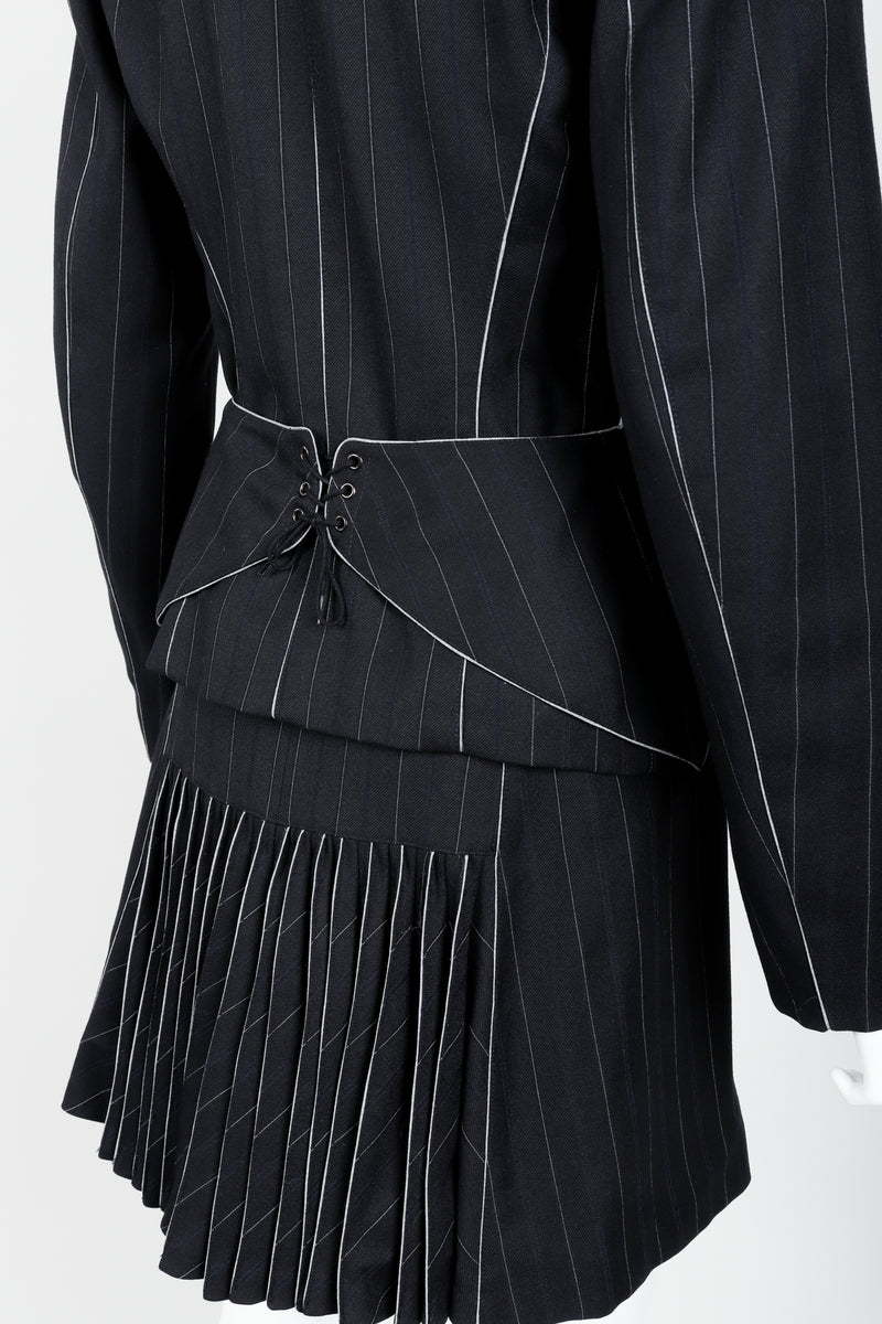 Vintage Alaia Pinstripe Contour Jacket & Pleated Skirt on Mannequin back detail