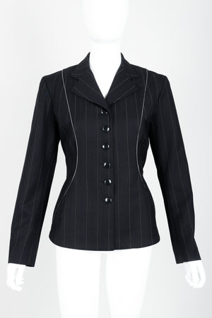Vintage Alaia Pinstripe Contour Jacket on Mannequin front at Recess