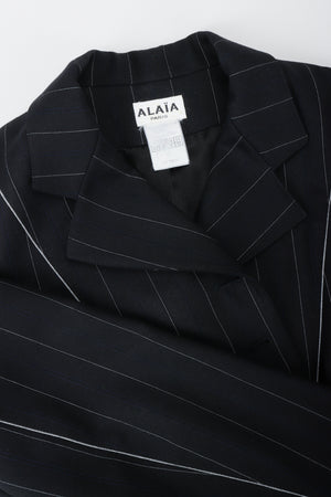 Vintage Alaia Pinstripe Contour Jacket Collar Detail at Recess