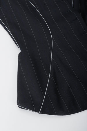 Vintage Alaia Pinstripe Contour Jacket Waist Detail at Recess