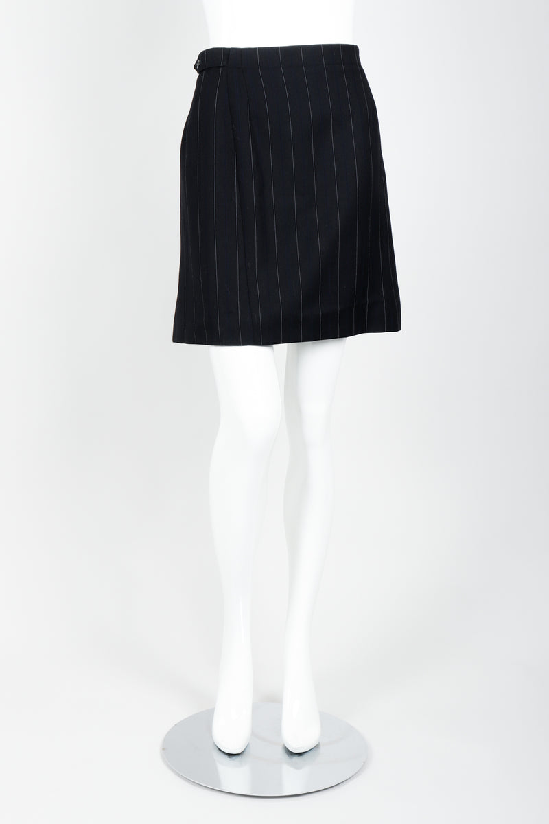 Vintage Alaia Pinstripe Pleated Skirt on Mannequin front at Recess
