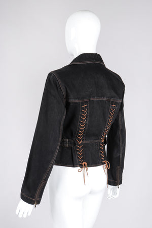 Recess Los Angeles Vintage Alaia Denim Baseball Laced Moto Jacket