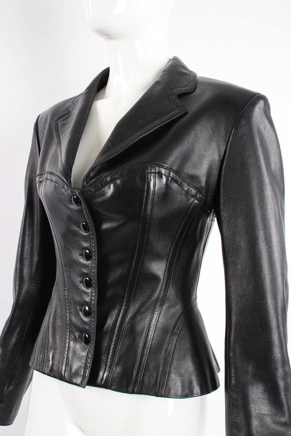 Vintage Alaia Leather Bustier Corset Jacket on Mannequin Crop at Recess Los Angeles