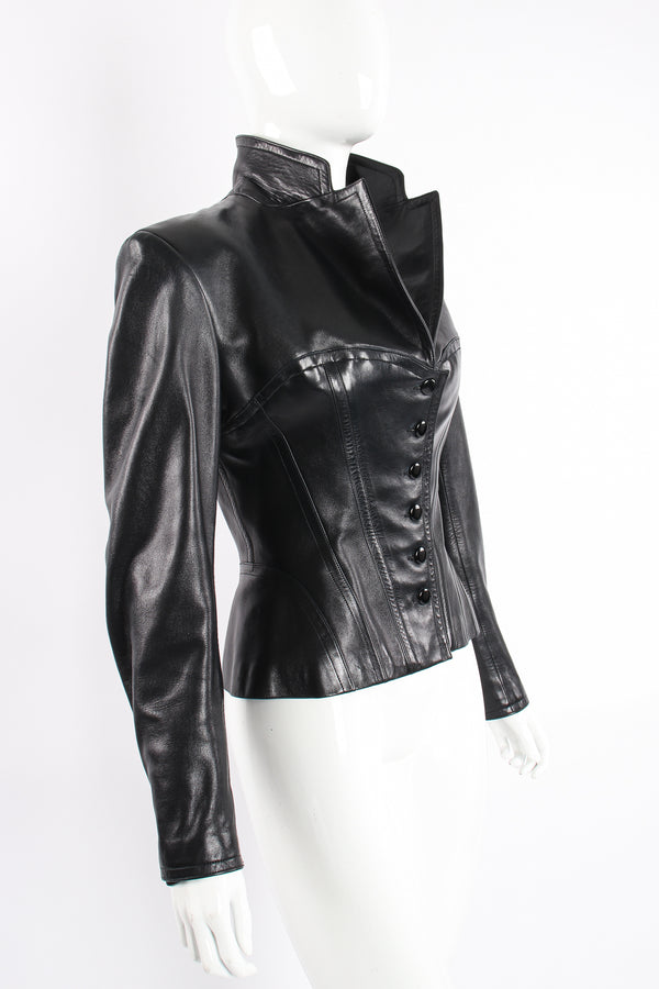 Vintage Alaia Leather Bustier Corset Jacket on Mannequin angle at Recess Los Angeles