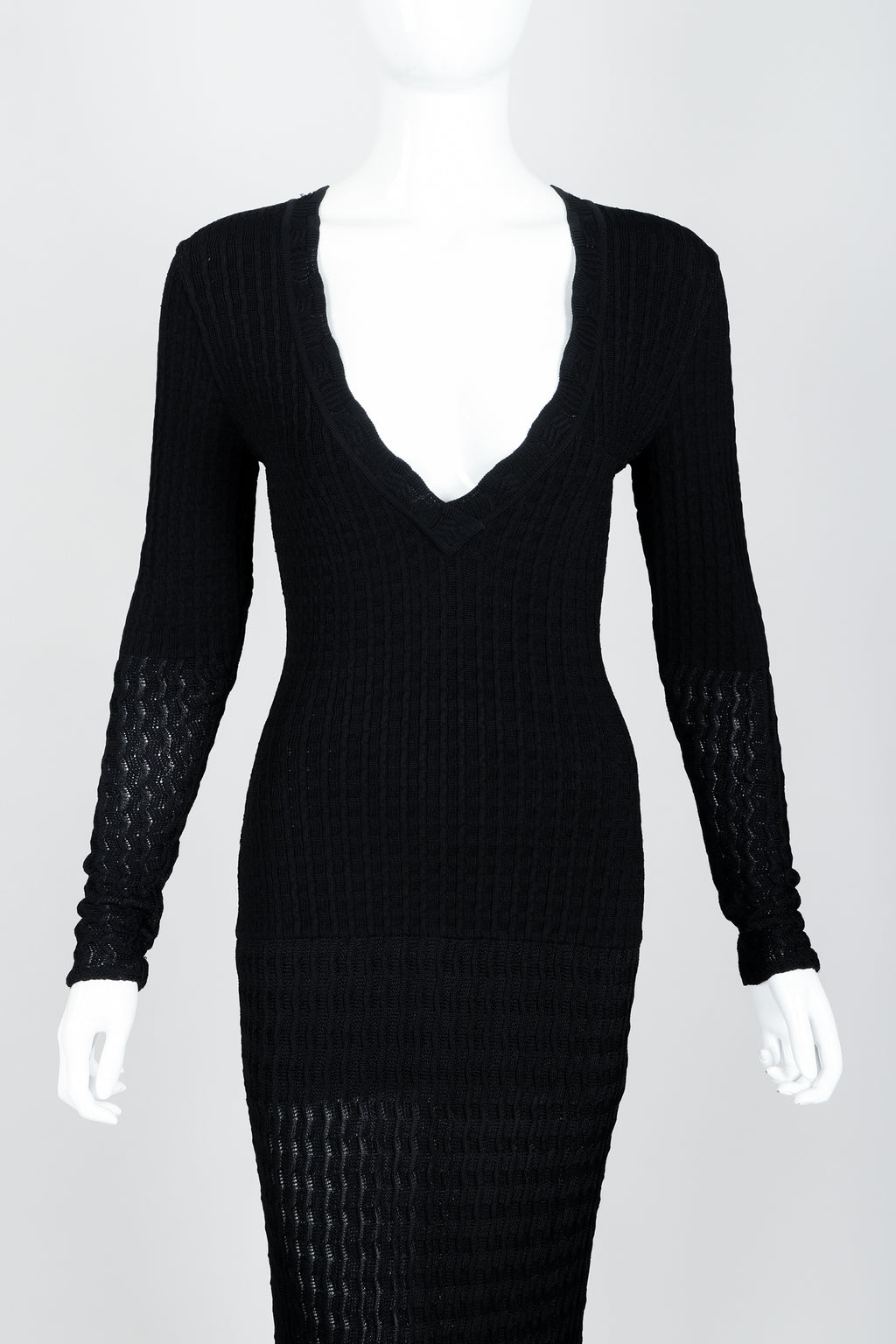 Vintage Alaia Pointelle Knit Bodycon Dress on mannequin front crop at Recess Los Angeles