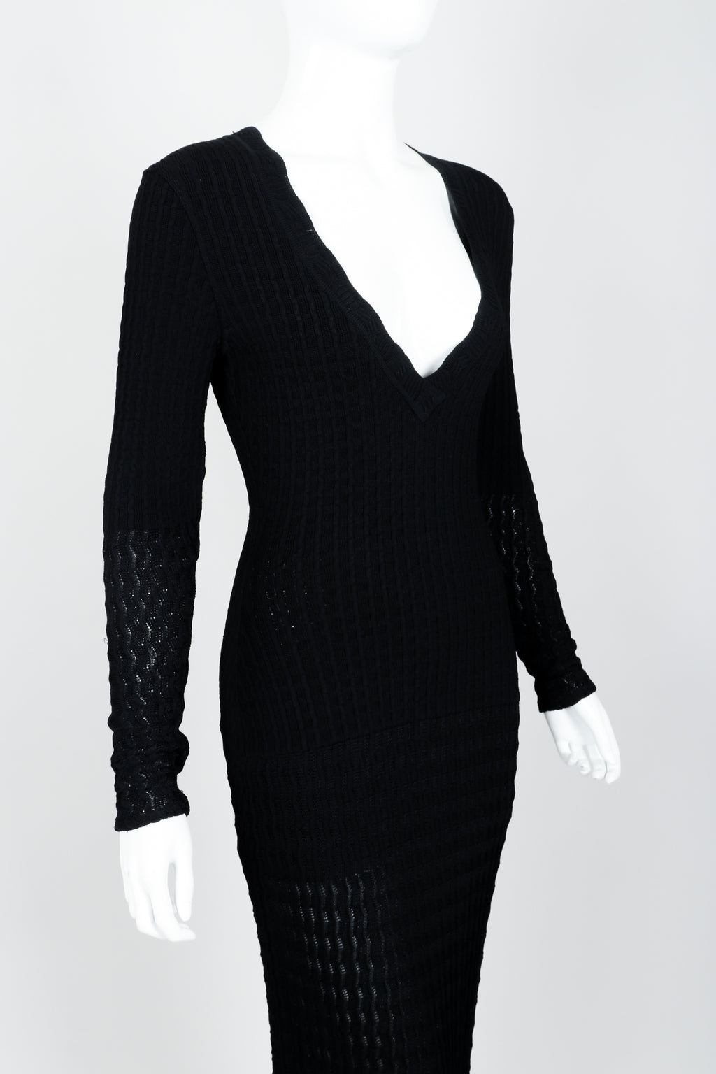 Vintage Alaia Pointelle Knit Bodycon Dress on mannequin angle crop at Recess Los Angeles
