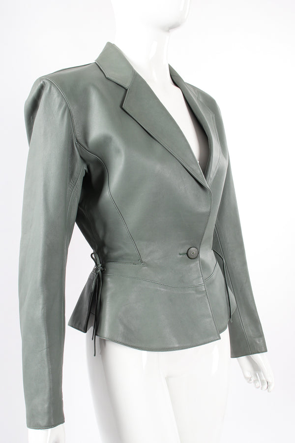 Vintage Alaia Leather  Tie Peplum Jacket on Mannequin angle at Recess Los Angeles