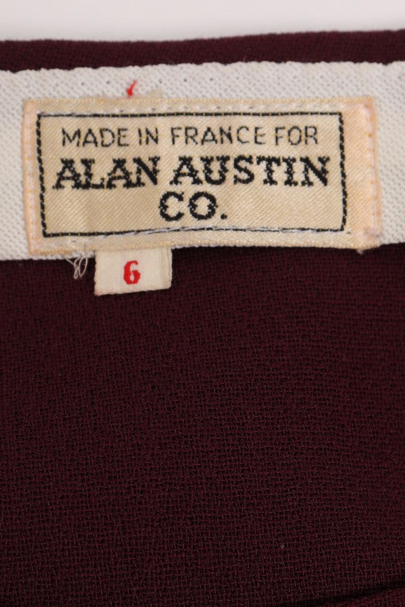 Vintage Alan Austin Plum Straight Leg Pant label at Recess Los Angeles